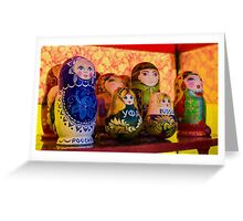 Funky Russian Puzzle Dolls Greeting Card