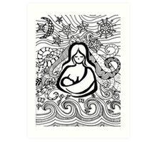 Breastfeeding Baby wearing Silhouette Zentangle Art Print