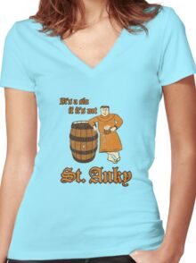 St. Anky Beer Women's Fitted V-Neck T-Shirt