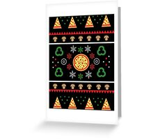 Winter Pizza in Black Greeting Card