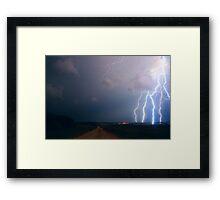 Lightning over the field Framed Print