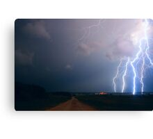 Lightning over the field Canvas Print