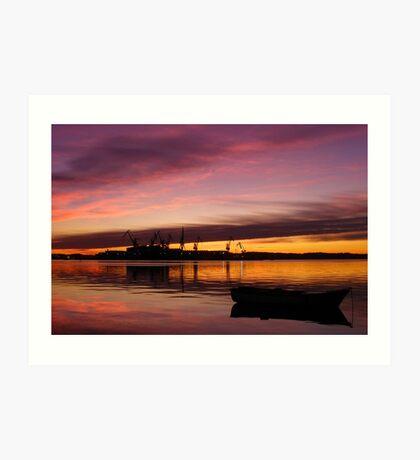 Beautiful sunset over the sea and shipyard Art Print