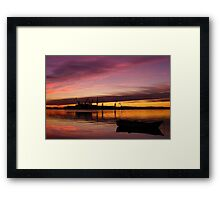 Beautiful sunset over the sea and shipyard Framed Print