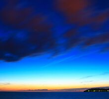 Beautiful sunset with visible stars by nrasic