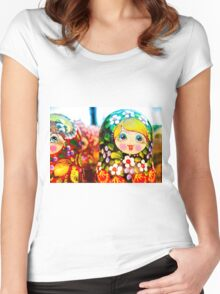 Traditional Russian Matrushka Nesting Puzzle Dolls Women's Fitted Scoop T-Shirt