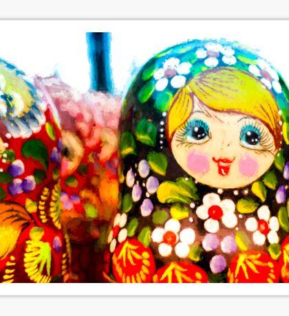 Traditional Russian Matrushka Nesting Puzzle Dolls Sticker