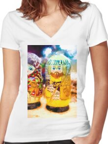 Traditional Russian Matrushka Nesting Puzzle Dolls Women's Fitted V-Neck T-Shirt