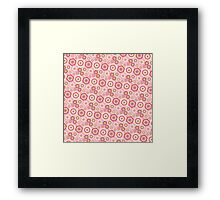 Chic pink red trendy retro stylish floral pattern Framed Print