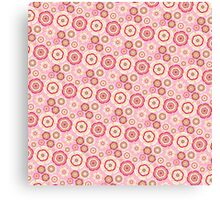 Chic pink red trendy retro stylish floral pattern Canvas Print