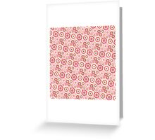 Chic pink red trendy retro stylish floral pattern Greeting Card