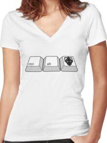hold ctrl + alt + DELETE!!! Women's Fitted V-Neck T-Shirt