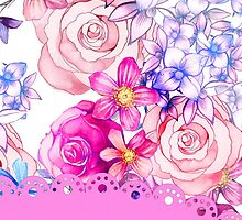 Cute pink watercolor lace floral pattern  by Maria Fernandes