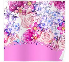 Cute pink watercolor lace floral pattern  Poster