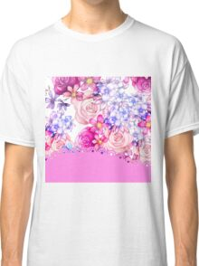 Cute pink watercolor lace floral pattern  Classic T-Shirt