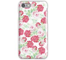 Elegant romantic red pink vintage floral pattern  iPhone Case/Skin