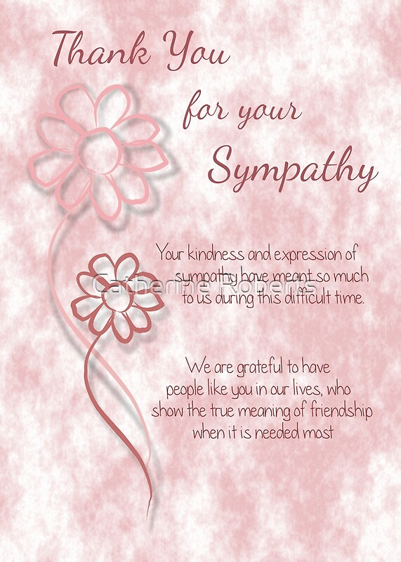 Thank You for your Sympathy Pink Sketched Flowers with Sentiment Words ...