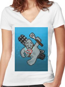 Urf, The Pixel Manatee Women's Fitted V-Neck T-Shirt