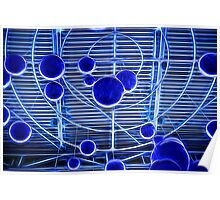 Blue Neon Ball Geometric Ceiling Poster
