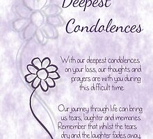 With Deepest Condolences Lilac Sketched Flowers with Sentiment Words by Samantha Harrison
