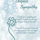 Our Deepest Sympathy Blue Sketched Flowers with Sentiment Words by Catherine Roberts