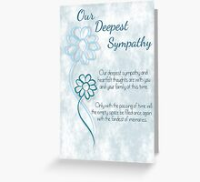 Our Deepest Sympathy Blue Sketched Flowers with Sentiment Words Greeting Card