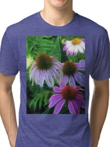 Kathie McCurdy Purple Cone Flowers Abstract Tri-blend T-Shirt