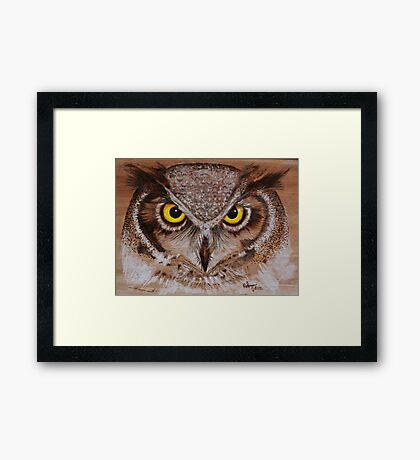 PYROGRAPHY: Great Horned Owl Framed Print