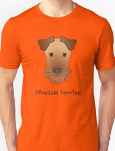 Airedale Terrier Cartoon Style Graphic Illustration on Pink Bubble Background Unisex T-Shirt