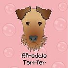 Airedale Terrier Cartoon Style Graphic Illustration on Pink Bubble Background by Samantha Harrison