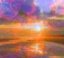 Colorful Sunset by Jan Marvin Sticker