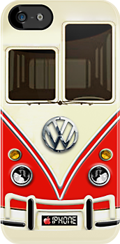Red Volkswagen VW with chrome logo iphone 4 4s, iPhone 3Gs, iPod Touch 4g case by www. pointsalestore.com