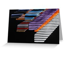 colorful ties for men on black background Greeting Card