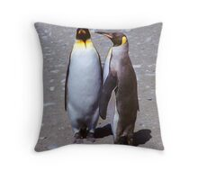 King Penguin Conversation, 'Oh no! I don't think so.' Throw Pillow