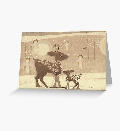 deer and angels Greeting Card