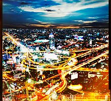 Bangkok city in twilight by naphotos