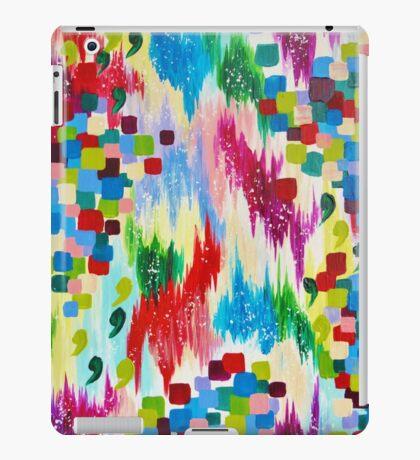 'TIS THE SEASON - Cheerful Christmas Seasonal Holidays Abstract Acrylic Painting Chevron Snow  iPad Case/Skin