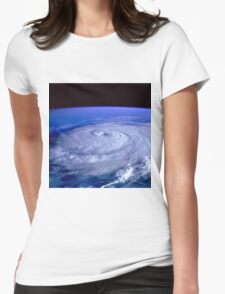 Hurricane picture of earth from space.  Womens Fitted T-Shirt
