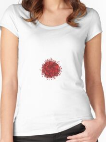 Red flowers small circle Women's Fitted Scoop T-Shirt