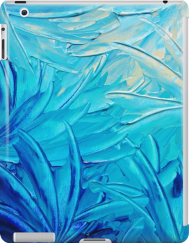 WATER FLOWERS - Beautiful Water Ocean Theme Shades Blue Floral Modern Design Abstract Painting by EbiEmporium