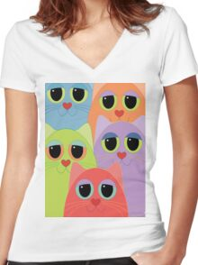 CAT FACES FIVE Women's Fitted V-Neck T-Shirt