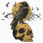 Skull and a Crow by brev87
