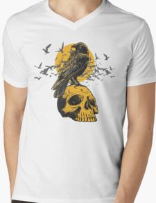 Skull and a Crow Mens V-Neck T-Shirt