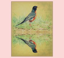 American Robin At Water's Edge One Piece - Short Sleeve