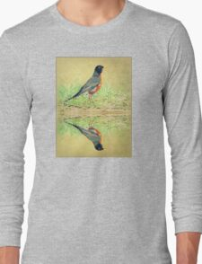 American Robin At Water's Edge Long Sleeve T-Shirt