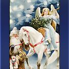 Angel on White Horse Christmas Card by Pamela Phelps