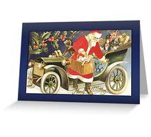 Santa Arriving in Car Christmas Card Greeting Card