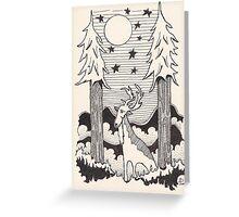 Lone Deer Under Starry Night Greeting Card