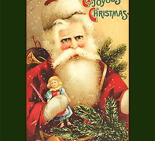 Santa with Doll Christmas Card by Pamela Phelps
