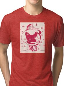 Father Christmas stuck in chimney Tri-blend T-Shirt